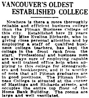 Vancouver Daily World, September 30, 1921, page 9, column 3.