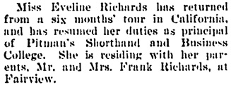 Society and Personal, Vancouver Daily World, January 31, 1910, page 10, column 3.