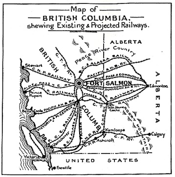 Fort Salmon Townsite; Western Canada Townsites Limited, 1912 [page 3 of online version]; https://open.library.ubc.ca/collections/bcbooks/items/1.0221972#p2z-4r0f: