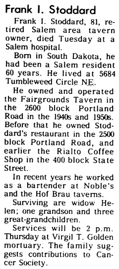 Statesman Journal (Salem, Oregon), August 22, 1973, page 28, column 8.