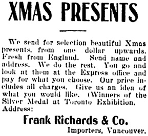 Vancouver Daily World, November 15, 1900, page 8, column 5.