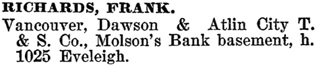 Henderson's BC Gazetteer and Directory, 1900-1901, page 906.