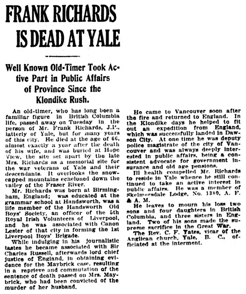Vancouver Daily World, January 20, 1921, page 11, column 3.
