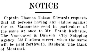 Vancouver Daily World, October 13, 1898, page 2.