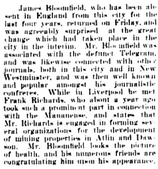Vancouver Daily World, November 28, 1899, page 6, column 2.