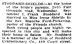 Statesman Journal (Salem, Oregon), September 10, 1912, page 5, column 6.