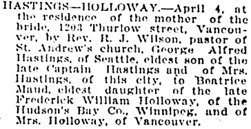 Vancouver World, April 6, 1907, page 8, column 3.