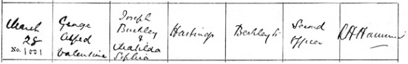 Ancestry.com. Liverpool, England, Church of England Baptisms, 1813-1917 [database on-line]. Provo, UT, USA: Ancestry.com Operations, Inc., 2011. Liverpool Record Office; Liverpool, England; Reference Number: 283 JAM/2/4. Name: George Alfred Valentine Hastings; Baptism Date: 28 Mar 1880; Baptism Place: Toxteth, St James, Lancashire, England; Father: Joseph Buckley Hastings; Mother: Matilda Sephia Hastings.