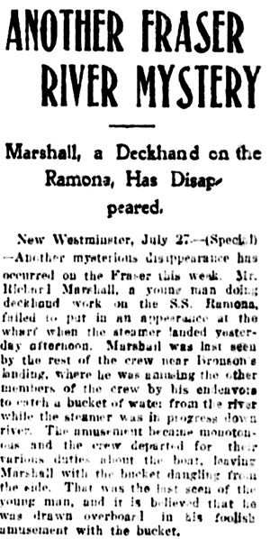 "Vancouver Daily World, July 27, 1905, page 1, column 7. [This report calls him ""Richard Marshall.""]"