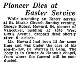 George Robert Howard, Vancouver Sun, April 6, 1931, page 5, column 1; https://news.google.com/newspapers?id=RqtlAAAAIBAJ&sjid=xIgNAAAAIBAJ&pg=4938%2C512506.