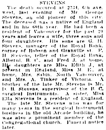 Vancouver Daily World, September 12, 1911, page 19, column 7.