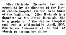 Vancouver Daily World, March 10, 1906, page 2; column 4.