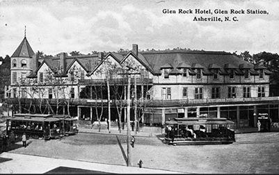 Glen Rock Hotel, Glen Rock Station, Asheville, NC, no date [after addition in 1901]. From North Carolina Postcard Album Collection, PhC.25, North Carolina State Archives; https://www.flickr.com/photos/north-carolina-state-archives/4821470768.