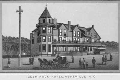 "Glen Rock Hotel, Western North Carolina R.R. Scenery, ""Land of the Sky,"" Portland, Me.: Chisholm Bros., 188-]; D. H. Ramsey Library, Special Collections, University of North Carolina at Asheville, page 8; http://toto.lib.unca.edu/booklets/wncrr/default_wncrr.htm."