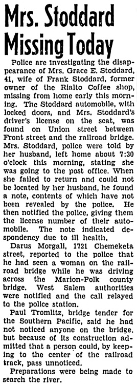 The Capital Journal (Salem, Oregon), August 23, 1940, page 1, column 3.