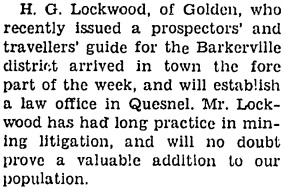 Cariboo Observer (Quesnel, British Columbia), June 10, 1933, page 1, column 1; http://www.quesnelmuseum.ca/COA/1933/19330610_Cariboo%20Observer.pdf.