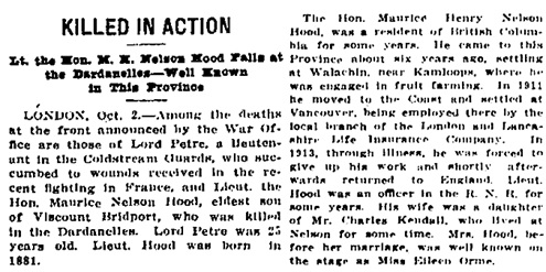 Victoria Daily Colonist, October 2, 1915, page 1; http://archive.org/stream/dailycolonist57y254uvic#page/n0/mode/1up/search/nelson+hood.