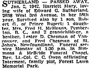 Vancouver Sun, January 3, 1942, page 18, column 1; https://news.google.com/newspapers?id=qDRlAAAAIBAJ&sjid=R4kNAAAAIBAJ&pg=1620%2C210882; [also in Vancouver Province, January 3, 1942, page 21; Vancouver News-Herald, January 5, 1942, page 18].