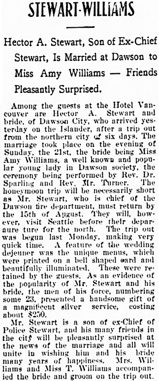 Vancouver Daily World, July 29, 1901, page 8, column 3.