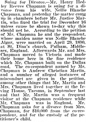 Victoria Daily Colonist, December 7, 1898, page 5, columns 2-5; https://archive.org/stream/dailycolonist18981207uvic/18981207#page/n4/mode/1up.