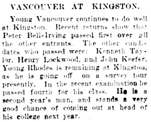 Vancouver Daily World, July 6, 1906, page 9, column 3.