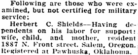 Statesman Journal (Salem, Oregon), August 26, 1917, page 12, column 5 [selected portions].