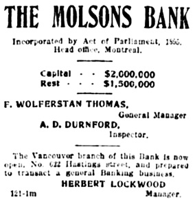 Vancouver Daily World, March 14, 1898, page 4, column 5.