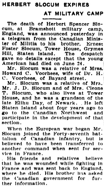 The Central New Jersey Home News (New Brunswick, New Jersey), June 30, 1916, page 9, column 2.