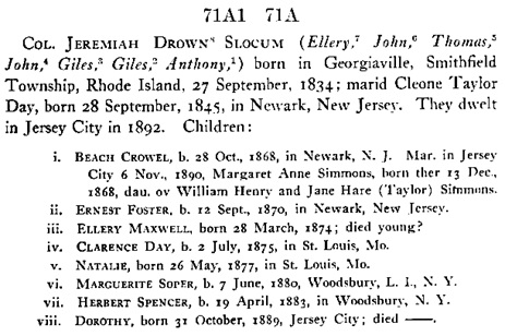 History of the Slocums, Slocumbs and Slocombs of America, genealogical and biographical, embracing twelve generations of the first-named family from A.D. 1637 to 1908, with their marriages and descendants in the female lines as far as ascertained, volume 2, by Charles Elihu Slocum; Defiance, Ohio, 1908, page 59; https://archive.org/stream/historyofslocums00sloc#page/59/mode/1up.