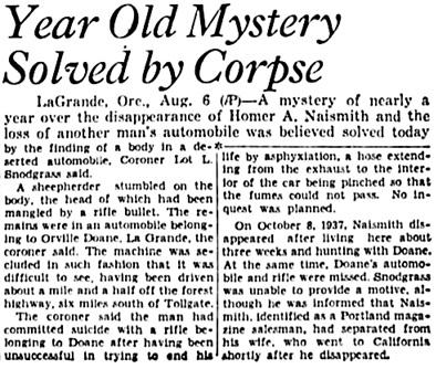 Daily Capital Journal (Salem, Oregon), August 6, 1938, page 1, columns 7-8.