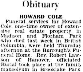 The Madison Eagle (Madison, New Jersey), June 19, 1947, page 6, column 5.