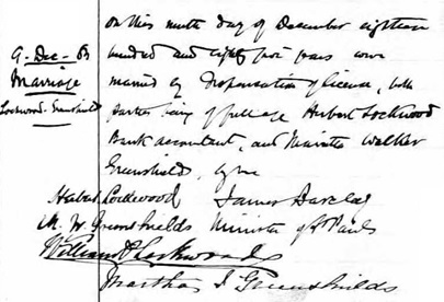 Ancestry.com. Quebec, Canada, Vital and Church Records (Drouin Collection), 1621-1968 [database on-line]. Provo, UT, USA: Ancestry.com Operations, Inc., 2008. Name: Lockwood [Hubert Lockwood]; Religion: Presbyterian; Event Type: Mariage (Marriage); Marriage Date: 1885; Marriage Place: Montréal, Québec (Quebec); Place of Worship or Institution: Presbyterian Saint Paul; Spouse: Greenshields.