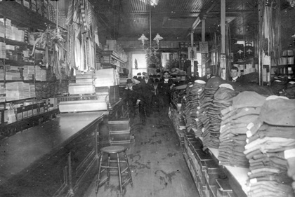 Interior of Clubb and Stewart Klondike Outfitters at 160 Cordova Street, 1898; Vancouver City Archives, CVA 371-876; https://searcharchives.vancouver.ca/interior-of-clubb-and-stewart-klondyke-outfitters-at-160-cordova-street.