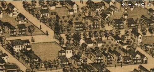 Intersection of Newnam Street and Adams Street, Jacksonville, Florida [detail] ; United States Library of Congress, Bird's eye view of Jacksonville, Fla.; Alvord, Kellog & Campbell, 1876; https://www.loc.gov/item/75693180/; this detail: https://www.loc.gov/resource/g3934j.pm001130/?r=0.488,0.38,0.105,0.043,0.
