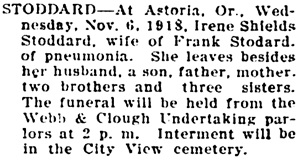 Statesman Journal (Salem, Oregon), November 8, 1918, page 5, column 2.