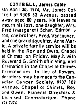 Edmonton Journal, May 2, 1974, page 38, column 8.