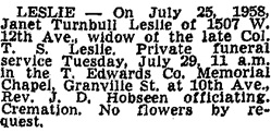 Vancouver Sun, July 28, 1958, page 26.