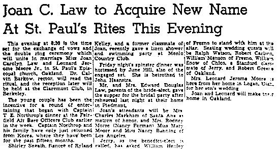 Oakland Tribune, August 15, 1948, page 80, columns 6-8.