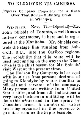 Victoria Daily Colonist, November 12, 1897, page 3, column 1; http://archive.org/stream/dailycolonist18971112uvic/18971112#page/n1/mode/1up.