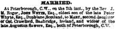Toronto Globe, April 12, 1864; page 2, column 9.