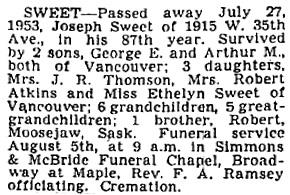Vancouver Province, July 29, 1953, page 40; Vancouver Sun, July 29, 1953, page 37; Vancouver Sun, July 30, 1953, page 31.