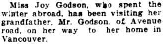 The Gazette (Montreal), June 11, 1927, page 8, column 5.
