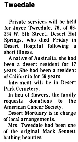 The Desert Sun (Palm Springs, California), December 30, 1975, page 2, column 5.