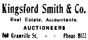 Vancouver Daily World, November 11, 1907, page 8, column 6.