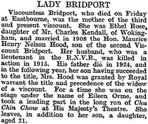 Lady Bridport, The Times (London, England), Monday, April 20, 1931, page 16.