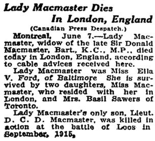 Toronto Globe, June 8, 1923; page 20, column 1.
