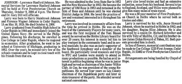 Albuquerque Journal, Albuquerque, New Mexico, October 8, 2008, page 32, column 4.