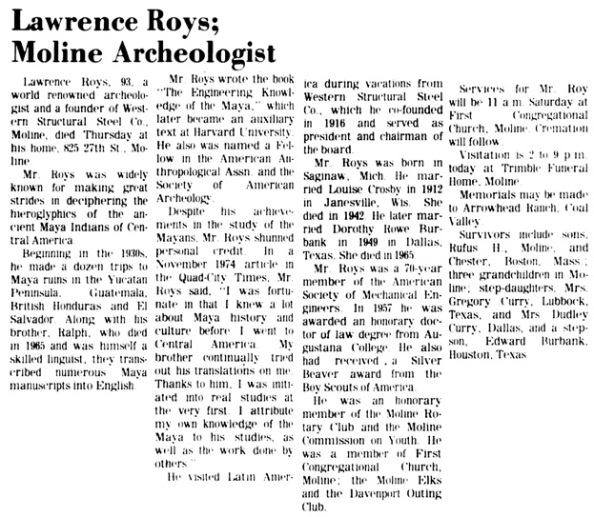 Quad-City Times (Davenport, Iowa), October 21, 1977, page 12, columns 1-2.