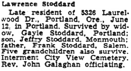 The Capital Journal (Salem, Oregon), April 14, 1970, page 16, column 6.