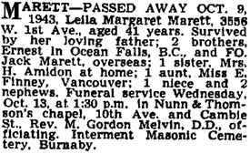Vancouver Province, October 12, 1943, page 19; Vancouver Sun, October 12, 1943, page 19.